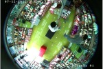 Потолочная IP видеокамера с углом обзора 180 градусов, детектором движения, ИК подсветкой, записью на карту.