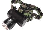 Налобный фонарь с аккумулятором (крепление на голову, стробоскоп, Zoom)
