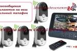 Беспроводная система видеонаблюдения из 4-х камер и монитора-регистратора.